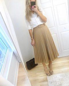 camel pleated midi skirt