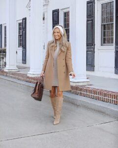 sweater dress and over knee boots