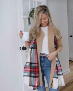 tartan scarf outfit